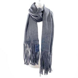 NWT Lucky Brand Gray Scarf with Fringe Ends